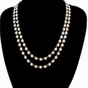 J CREW shiny gunmetal dual strand crystal necklace